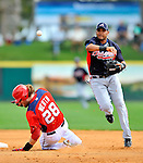 4 March 2011: Atlanta Braves infielder Diory Hernandez turns a double-play during a Spring Training game against the Washington Nationals at Space Coast Stadium in Viera, Florida. The Braves defeated the Nationals 6-4 in Grapefruit League action. Mandatory Credit: Ed Wolfstein Photo