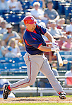 6 March 2006: Mike DiFelice, catcher for the Washington Nationals, at bat during a Spring Training game against the Los Angeles Dodgers. The Nationals and Dodgers played to a scoreless tie at Holeman Stadium, in Vero Beach Florida...Mandatory Photo Credit: Ed Wolfstein..
