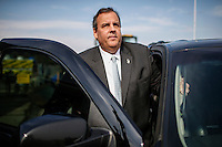 NJ's governor Chris Christie goes into his car while he visited the Jersey shore's reconstruction, marking the second anniversary of Sandy storm in New Jersey. 10.29.2014. Eduardo MunozAlvarez/VIEWpress