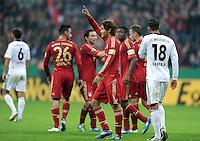 Fussball DFB Pokal:  Saison   2011/2012  2. Runde  26.10.2011 FC Bayern Muenchen - FC Ingolstadt 04 JUBEL nach dem Tor , Takashi Usami  (FC Bayern Muenchen)