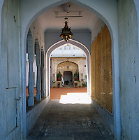 View down the passageway into the central courtyard of the haveli or small Indian palace