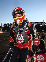 Nov 13, 2016; Pomona, CA, USA; NHRA top fuel driver Doug Kalitta after winning the Auto Club Finals at Auto Club Raceway at Pomona. Mandatory Credit: Mark J. Rebilas-USA TODAY Sports