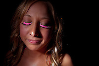 SARASOTA, FL -- March 13, 2010 -- Carmen Herrst sports pink eyela lashes as spring breakers party it up in a packed house during a bikini contest at The Beach Club on Siesta Key, Fla., in Sarasota, FL, on Sunday, March 13, 2011.