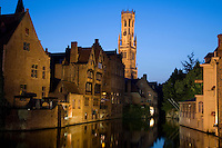 Belfort, Belfry and canals in Belfort; Bruges; Belgium; Europe