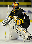1 December 2007: University of Vermont Catamounts' goaltender Mike Spillane, a Sophomore from Bow, NH, warms up prior to facing the Providence College Friars at Gutterson Fieldhouse in Burlington, Vermont. The Friars shut out the Catamounts 4-0 in front of a capacity crowd of 4003, for the 64th consecutive sell-out at Gutterson...Mandatory Photo Credit: Ed Wolfstein Photo