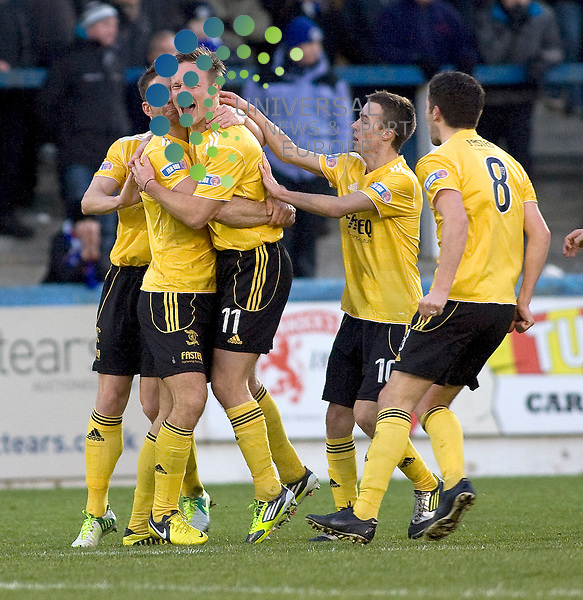 Iain russell (11) ofLivingston celebrates scoring equalising goal  during the Greenock Morton V Livingston Irn Bru Scottish First Division Match 2012-2013 at Cappielow Park, Greenock  .Picture: Campbell Skinner/Universal News And Sport (Scotland) 19th January 2013..