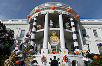 Halloween decorations are placed at the South Portico of the White House in Washington, DC before President Barack Obama and the First Lady will welcome local children and children of military families to trick-or-treat on October 31, 2016. <br /> Credit: Olivier Douliery / Pool via CNP /MediaPunch