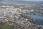 The River Thames and Cherwell, Oxford in  flood . <br /> View of Oxford, looking  North  east<br /> Christchurch meadow and the flooded Thames to the bottom of the image.