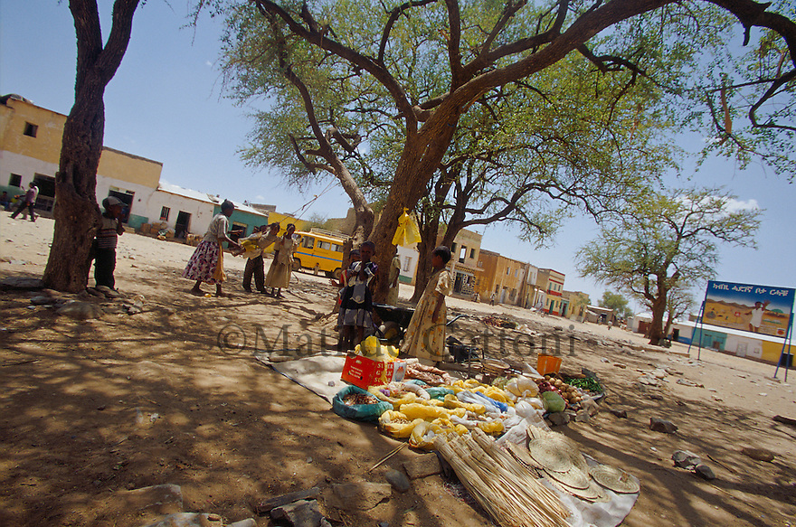 Eritrea - Debub- Market in a small village next to the Ethiopian border. As a result of 30 years of war for independence against Ethiopia (from 1961 to 1991) and another 3 years from 1997 to 2000, there are 50,000 Eritreans currently living in internally displaced (IDP) camps throughout the country. These IDPs have fled three times in the last 10 years, each time because of renewed military conflict. They lived in relatives' homes when lucky enough, but mostly, the fled to the mountains, where they attempted to do what Eritreans do best, survive. Currently there is no Ethiopian occupation in Eritrea, but landmines prevent the IDPs from finally going home. .It is estimated that every Eritrean family lost two or three members to the war which makes the reality of the current emergency situation even more painful for Eritreans worldwide. Currently, the male population has been decreased dramatically, affecting the most fundamental socio-economic systems in the country. Among the refugee population, an overwhelming majority of families are female-headed, severely affecting agricultural production. For, IDPs in particular, 80% of households are female-headed..The unresolved border dispute with Ethiopia remains the most important drawback to Eritrea's socio-economic development, as national resources (human and material) continue to be prioritized for national defense. Eritrea is vulnerable to recurrent droughts and variable weather conditions with potentially negative effects on the 80 percent of the population that depend on agriculture and pastoralism as main sources of livelihood. The situation has been exacerbated by the unresolved border dispute, resulting in economic stagnation, lack of food security and increased susceptibility of the population to various ailments including communicable diseases and malnutrition. .