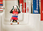 5 December 2015: Katrin Heinzelmaier, competing for Austria, crosses the finish line on her second run of the Viessmann World Cup Women's Luge, with a combined 2-run time of 1:29.115 and a 13th place result at the Olympic Sports Track in Lake Placid, New York, USA. Mandatory Credit: Ed Wolfstein Photo *** RAW (NEF) Image File Available ***