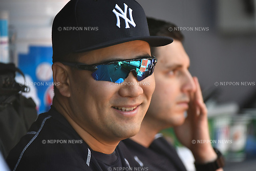 Masahiro Tanaka (Yankees),<br /> JUNE 12, 2016 - MLB :<br /> Masahiro Tanaka of the New York Yankees sits in the dugout in the bottom of the fourth inning during the Major League Baseball game against the Detroit Tigers at Yankee Stadium in the Bronx, New York, United States. (Photo by Hiroaki Yamaguchi/AFLO)