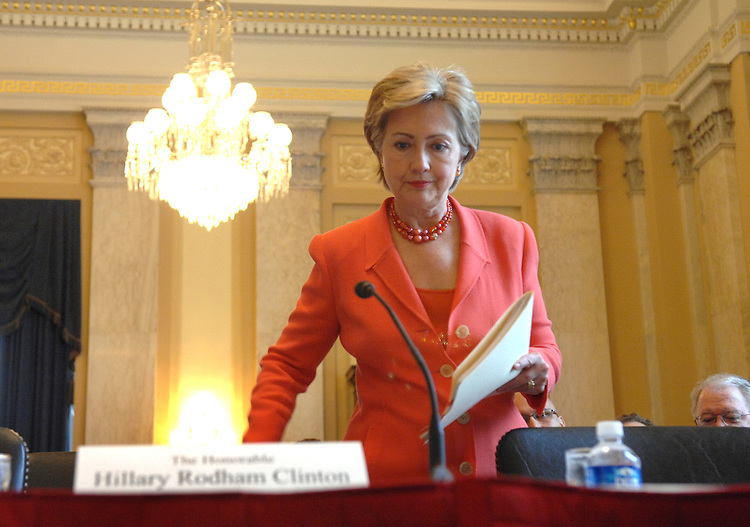 """Sen. Hillary Clinton, D-N.Y., prepares to testify at a hearing on the """"Ballot Integrity Act,"""" which provides new safeguards to prevent errors and tampering at the polls among other measures to ensure voting accuracy."""