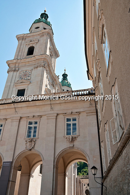 Salzburg Cathedral bell towers, as seen from Residenzplatz (plaza)