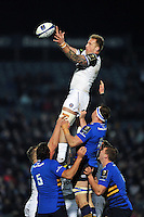 Dominic Day of Bath Rugby wins the ball at a lineout. European Rugby Champions Cup match, between Leinster Rugby and Bath Rugby on January 16, 2016 at the RDS Arena in Dublin, Republic of Ireland. Photo by: Patrick Khachfe / Onside Images