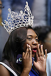 04 November 2014: Annakay Edwards, Miss Livingstone College, cheers for her team. The Duke University Blue Devils hosted the Livingstone College Blue Bears at Cameron Indoor Stadium in Durham, North Carolina in an NCAA Men's Basketball exhibition game. Duke won the game 115-58.