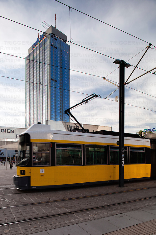 Urban scene in Berlin, Germany with tram