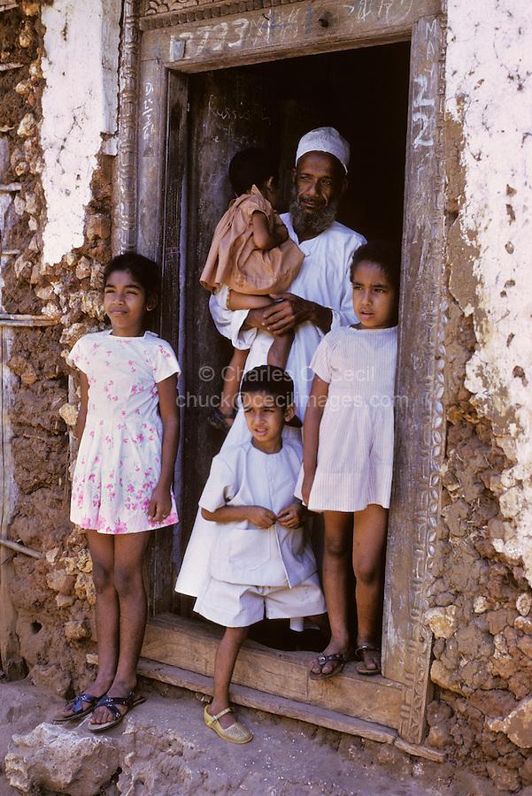 Zanzibar, Tanzania. Arab Father and his Children. 1970.