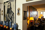 Bernard Buffet French artist expressionist painter (1928-1999) France Circa 1995. Interior self portrait home in Tourtour Provence France.