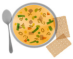 X-ray image of soup and crackers (color on white) by Jim Wehtje, specialist in x-ray art and design images.