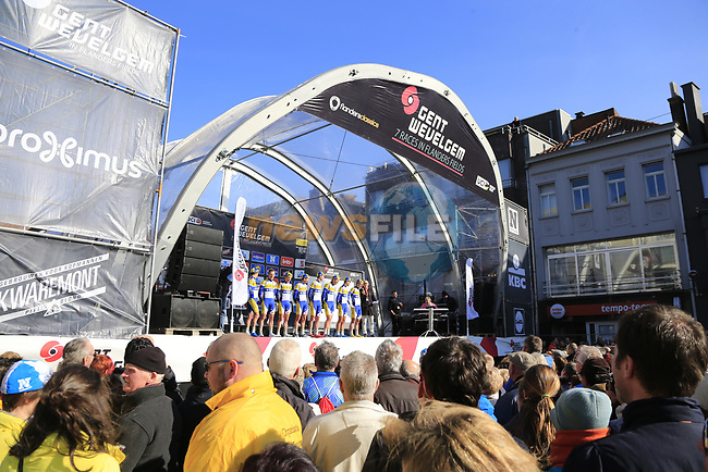 Sport Vlaanderen-Baloise team on stage at sign on before the start of Gent-Wevelgem in Flanders Fields 2017, running 249km from Denieze to Wevelgem, Flanders, Belgium. 26th March 2017.<br /> Picture: Eoin Clarke | Cyclefile<br /> <br /> <br /> All photos usage must carry mandatory copyright credit (&copy; Cyclefile | Eoin Clarke)
