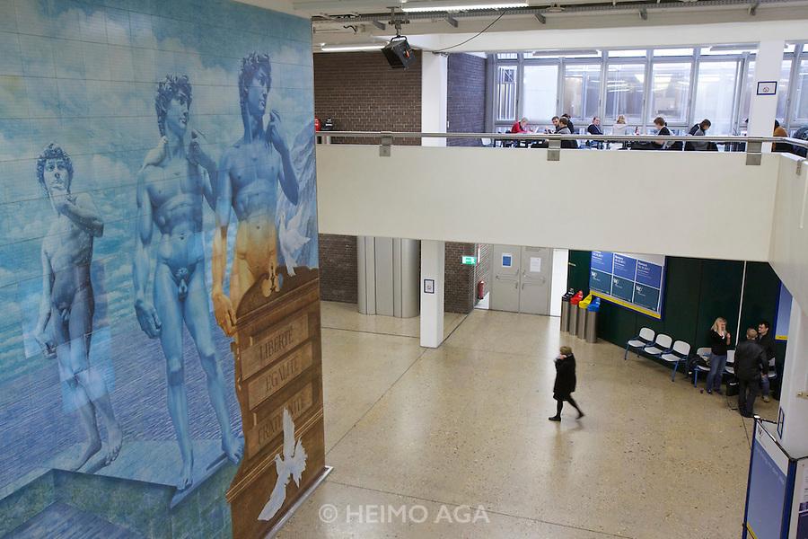 Universities in Vienna, Austria..WU (Wirtschaftsuniversität Wien)..fayences by Maître Leherb.