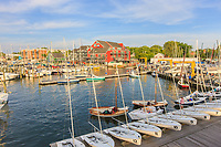Yachts and sailboats return to their slips in the Annapolis Yacht Club on Spa Creek after Wednesday Night Racing activities.
