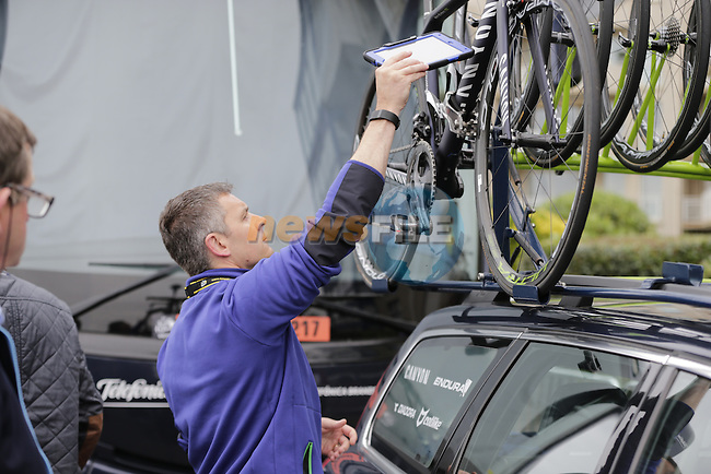 UCI officials check team bikes for mechanical doping before the start of Stage 3 of the 2016 Tour de France, running 223.5km from Granville to Angers, France . 4th July 2016.<br /> Picture: Eoin Clarke | Newsfile<br /> <br /> <br /> All photos usage must carry mandatory copyright credit (&copy; Newsfile | Eoin Clarke)