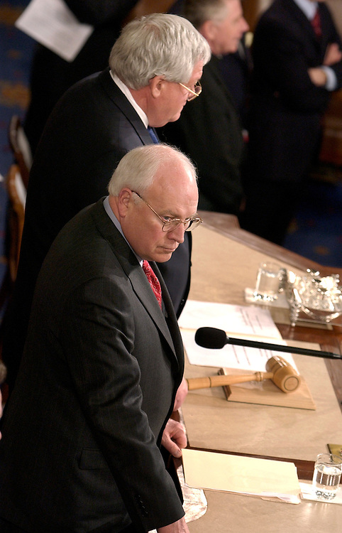 Vice President Dick Cheney, foreground, and Speaker of the House Dennis Hastert, R-Ill., attended a joint session of Congress at which Ellen Johnson Sirleaf, president of the Republic of Liberia, addressed the gathering.