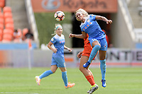 Houston, TX - Saturday April 15, 2017: Samantha Johnson heads the ball up the field during a regular season National Women's Soccer League (NWSL) match won by the Houston Dash 2-0 over the Chicago Red Stars at BBVA Compass Stadium.