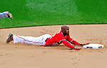 26 September 2010: Washington Nationals utilityman Willie Harris steals second base in the 7th inning against the Atlanta Braves at Nationals Park in Washington, DC. The Nationals defeated the pennant-seeking Braves 4-2 to take the rubber match of their 3-game series. Mandatory Credit: Ed Wolfstein Photo