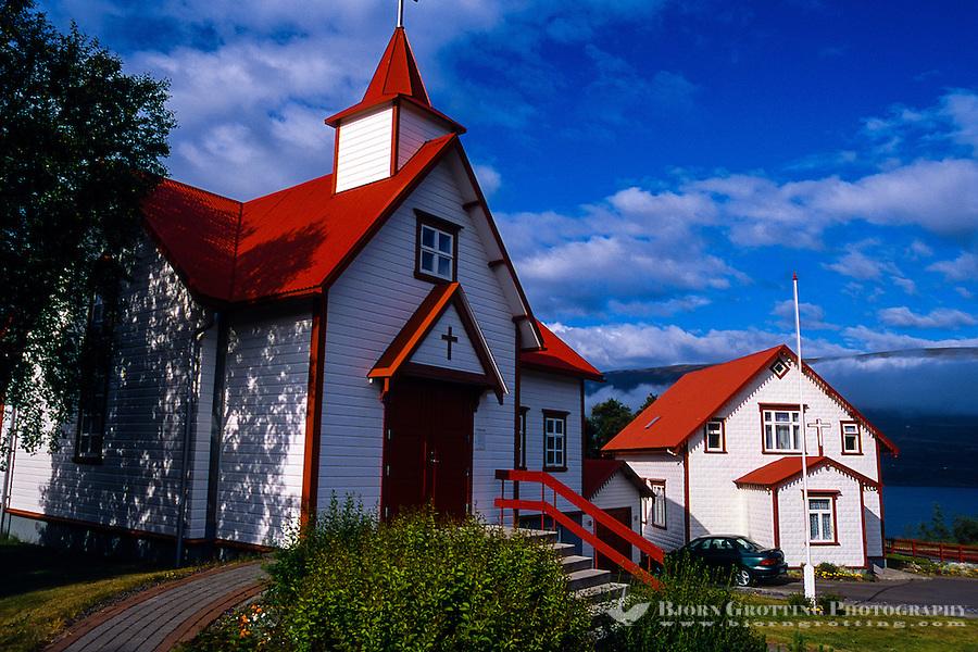 Iceland. Akureyri, an important port and fisheries centre. Péturskirkjan, the Catholic church.