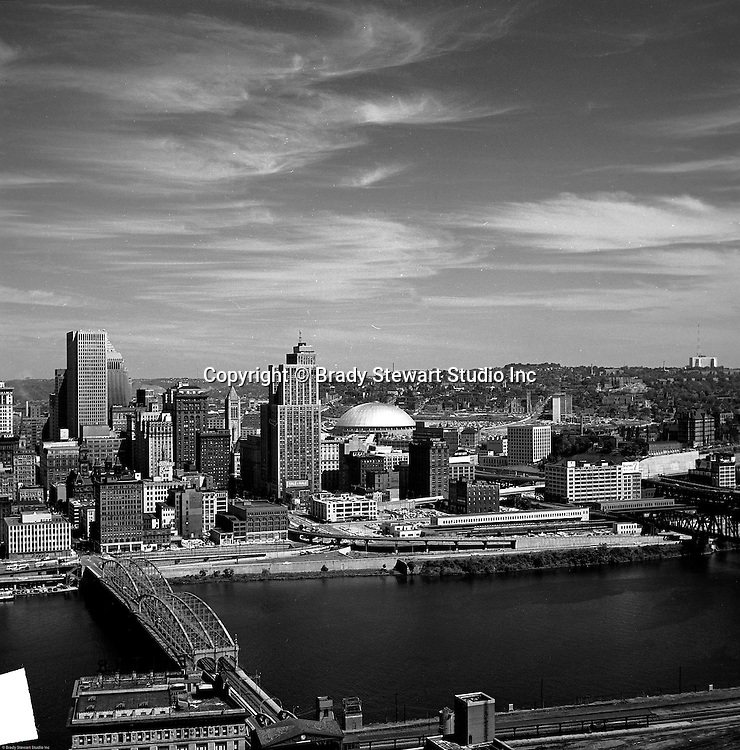 Pittsburgh PA - View of the uptown of Pittsburgh and Civic Area from Mount Washington - 1964.  Pittsburgh new Civic Arena is in the background