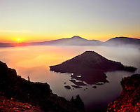 Sunrise at Crater Lake over Wizard Island in Crater lake National Park