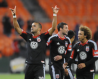 D.C. United forward Maicon Santos (29) celebrates his score in the 11th minute of the game. D.C. United defeated The Houston Dynamo 3-2 at RFK Stadium, Saturday April 28, 2012.