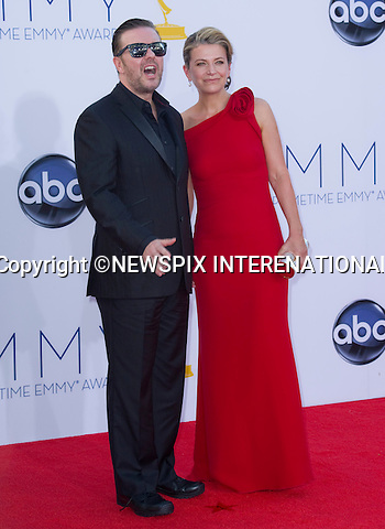 "RICKY GERVAIS AND JANE FALLON - 64TH PRIME TIME EMMY AWARDS.Nokia Theatre Live, Los Angelees_23/09/2012.Mandatory Credit Photo: ©Dias/NEWSPIX INTERNATIONAL..**ALL FEES PAYABLE TO: ""NEWSPIX INTERNATIONAL""**..IMMEDIATE CONFIRMATION OF USAGE REQUIRED:.Newspix International, 31 Chinnery Hill, Bishop's Stortford, ENGLAND CM23 3PS.Tel:+441279 324672  ; Fax: +441279656877.Mobile:  07775681153.e-mail: info@newspixinternational.co.uk"