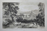 The royal abbey at Poissy seen from the St Germain forest, engraving, at the Collegiale Notre-Dame de Poissy, a catholic parish church founded c. 1016 by Robert the Pious and rebuilt 1130-60 in late Romanesque and early Gothic styles, in Poissy, Yvelines, France. The Collegiate Church of Our Lady of Poissy was listed as a Historic Monument in 1840. Picture by Manuel Cohen