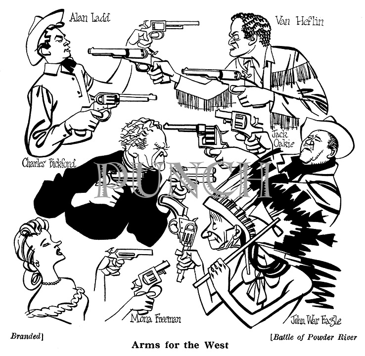 Arms for the West..Branded ; Alan Ladd , Charles Bickford and Mona Freeman..Battle of Powder River : Van Heflin , Jack Oakie and John War Eagle....