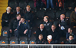 Dundee United v St Johnstone...12.03.14    SPFL<br /> Tommy Wright sits in the stands after being sent off by Referee Crawford Allan<br /> Picture by Graeme Hart.<br /> Copyright Perthshire Picture Agency<br /> Tel: 01738 623350  Mobile: 07990 594431