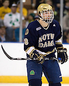 Stephen Johns (Notre Dame - 28) - The University of Notre Dame Fighting Irish defeated the Merrimack College Warriors 4-3 in overtime in their NCAA Northeast Regional Semi-Final on Saturday, March 26, 2011, at Verizon Wireless Arena in Manchester, New Hampshire.