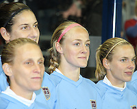 Yael Averbuch #4, Kristine Lilly #13, Becky Sauerbrunn #23 and Lindsay Tarpley #5 of the USA WNT during an international friendly match against the PRC WNT at PPL Park, on October 6 2010 in Chester, PA. The game ended in a 1-1 tie.