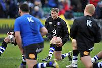 Rhys Priestland of Bath Rugby looks on during the pre-match warm-up. Aviva Premiership match, between Bath Rugby and Wasps on February 20, 2016 at the Recreation Ground in Bath, England. Photo by: Patrick Khachfe / Onside Images