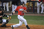 Ole Miss' Matt Tracy (29) hits a RBI single in the second inning at Oxford-University Stadium in Oxford, Miss. on Wednesday, March 2, 2010.