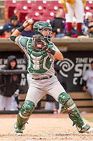 Beloit Snappers catcher Santiago Chavez (15) throws down to second base between innings of a Midwest League game against the Wisconsin Timber Rattlers on April 10th, 2016 at Fox Cities Stadium in Appleton, Wisconsin.  Wisconsin defeated Beloit  4-2. (Brad Krause/Four Seam Images)