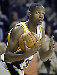 .Seattle SuperSonics Ray Allen looks toward the sideline to call time out with 13.7 seconds remaining in their 101-97 loss to Los Angeles Clippers on Friday, April 14, 2006 at the Key Arena in Seattle.  Jim Bryant Photo. &copy;2010. All Rights Reserved.