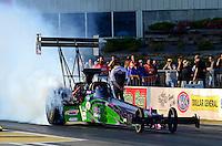 May 18, 2012; Topeka, KS, USA: NHRA top fuel dragster driver Hillary Will during qualifying for the Summer Nationals at Heartland Park Topeka. Mandatory Credit: Mark J. Rebilas-