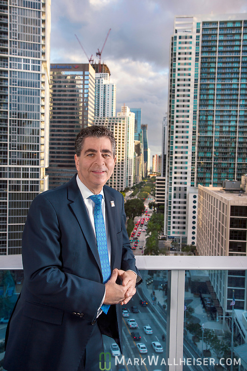 Overlooking Bickell Street and downtown Miami,  incoming Florida Bar president Michael Higer in Miami, Florida.