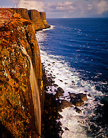 Falls at Kilt Rock, Scotland United Kingdom Isle of Skye Waterfall plunges directly into the ocean Sound of Raasay, Atlantic Ocean 45 V IC Trotternish Forest