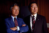 Seoul, South Korea<br /> 1987<br /> <br /> Opposition leaders Kim Young Sam and Kim Dea-jong.<br /> <br /> Kim Dae-jung (3 December 1925 to 18 August 2009) was President of South Korea from 1998 to 2003, and the 2000 Nobel Peace Prize recipient. As of this date Kim is the first and only Nobel laureate to hail from Korea. A Roman Catholic since 1957, he has been called the &quot;Nelson Mandela of Asia&quot; for his long-standing opposition to authoritarian rule.
