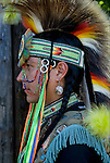 Profile of  Keith Sharphead, Plains Cree, Thunderbird Pow-Wow in Queens County Farm, New York.<br /> <br /> His regalia is an example of ethnic pride, heritage and a celebration and traditional Native American folk art crafts.