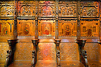 16th century  Renaissance Gothic style stalls with wood sculptures &amp; inlays ordered by cardinal Georges d'Ambrose of Rouen. The Gothic Cathedral Basilica of Saint Denis ( Basilique Saint-Denis ) Paris, France.  A UNESCO World Heritage Site.